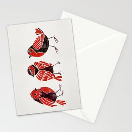 Finches – Red & Black Palette Stationery Cards