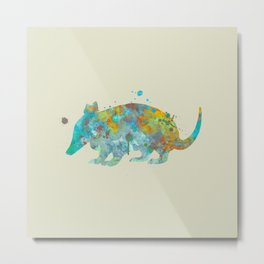 Armadillo Watercolor Painting Turquoise Aqua Mint Yellow Orange Metal Print