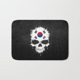 Flag of South Korea on a Chaotic Splatter Skull Bath Mat