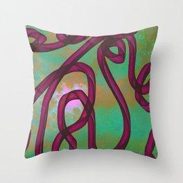 """Galactic Ribbon"" (Burgundy/Green) Digital Painting // Fine Art Print Throw Pillow"