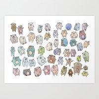 bears Art Prints featuring Bears by Hannah Drossman