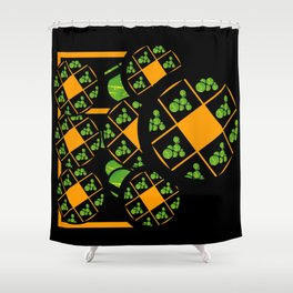 Orange and Green Spaces 100 Shower Curtain