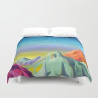 mountains Duvet Covers featuring mountains  by Robert Deutsch