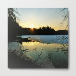 a walk at the lake Metal Print
