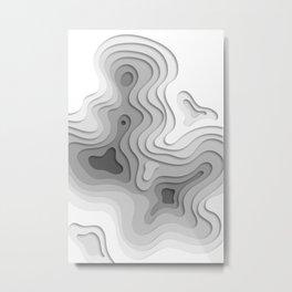 White Topographic Map Metal Print