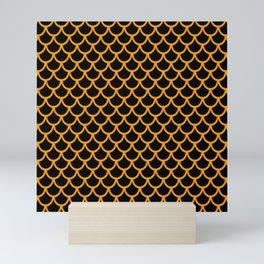 Scales (Orange & Black Pattern) Mini Art Print