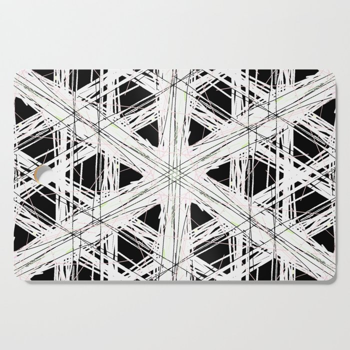 Black & white rattan pattern w/ peekaboo pink and green strings Cutting Board