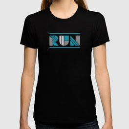 Run - Teal and Silver Geometric Type (Dark) T-shirt