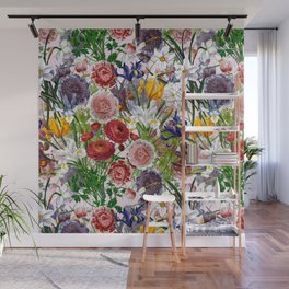Vintage & Shabby Chic - Lush baroque flower garden pattern on pink Wall Mural