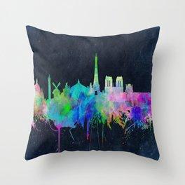 Paris skyline waterolor 2 Throw Pillow