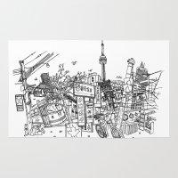 toronto Area & Throw Rugs featuring Toronto! by David Bushell