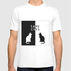 OPPOSITES LOVE: CATS MEDIUM White Mens Fitted Tee