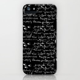 White French Script on Black background with White birds iPhone Case