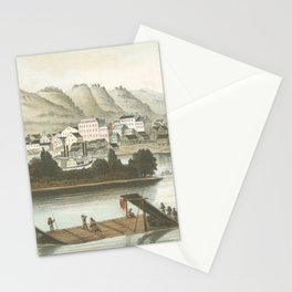 Vintage Pictorial View of Dubuque IA (1854) Stationery Cards
