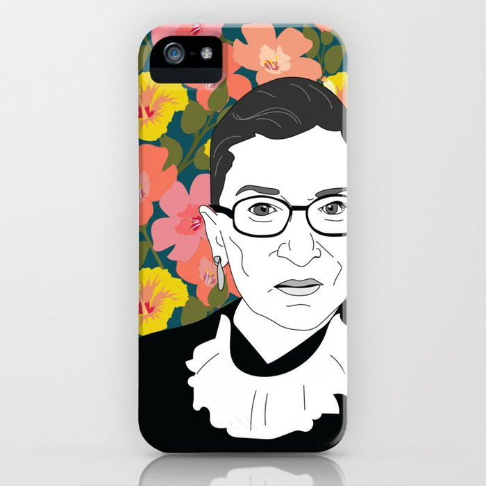 ruth bader ginsburg floral iphone case