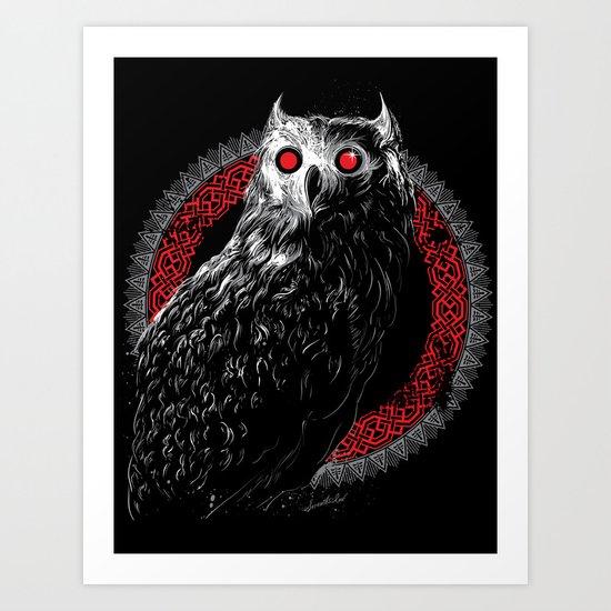 Midnight Owl - Red Art Print