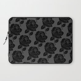 Black Rose Pattern on Grey Laptop Sleeve