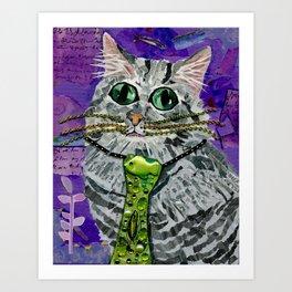 Cat & Fish Tie Art Print