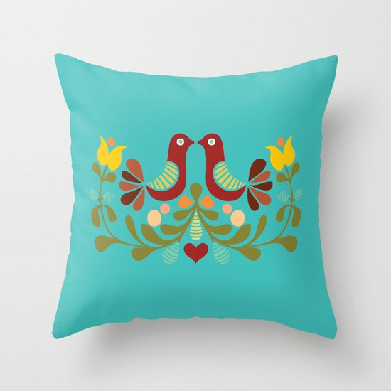 Vector folk art design Throw Pillow by Pizza Party Society6