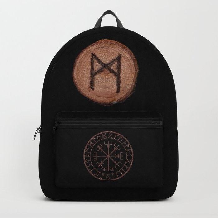 Mannaz - Wooden Celtic Rune of self, individuals, universe, family, loved ones, friends, devoted Backpack