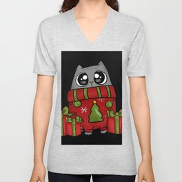 Ugly Sweater Christmas Cat with Gifts Presents Unisex V-Neck