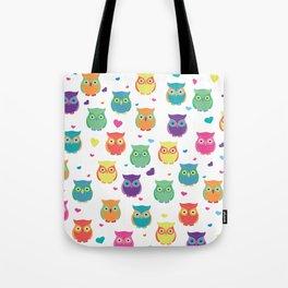 Rainbow Owl Cuties Tote Bag