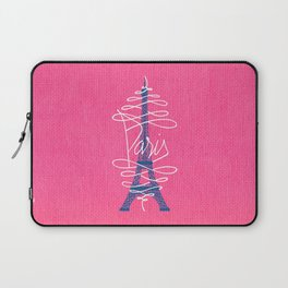 Girly Eiffel Tower Pink Whimsical Paris Typography Laptop Sleeve
