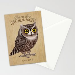 Otus scops on wood Stationery Cards