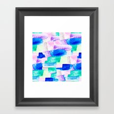 Modern bold bright hand painted watercolor color block Framed Art Print