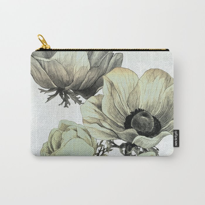 anemone flowers (white background) Carry-All Pouch