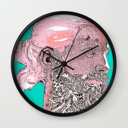 Hipster Nepune - emerald Wall Clock