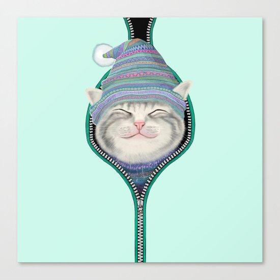 Cat in the zip Canvas Print