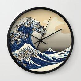 The Great Wave of Pugs Vanilla Sky Wall Clock