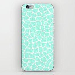 Light Blue Glitter Giraffe Print iPhone Skin