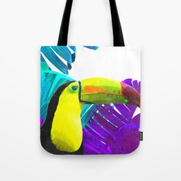 Toucan palm leaves Tote Bag