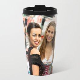 Gorgeous young women at German funfair Travel Mug