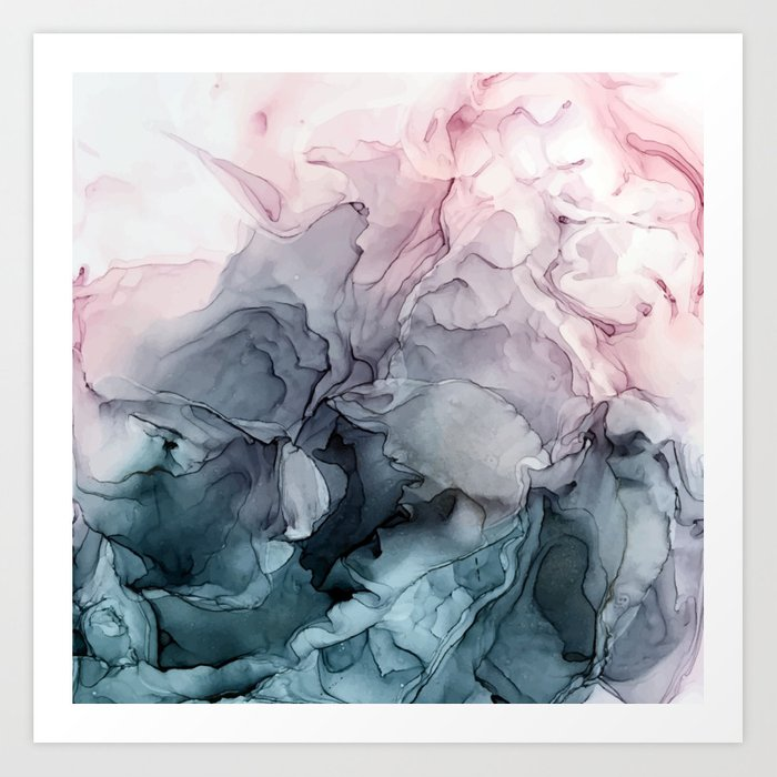 Blush and Payne's Grey Flowing Abstract Painting Kunstdrucke