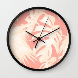 Tropical Coral Pink Palm Leaf Pattern Wall Clock