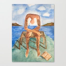 Fan art: melancholie sculpture with a dropped open book and sea view Canvas Print