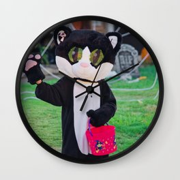 Cute Cat Costume on Halloween! Wall Clock