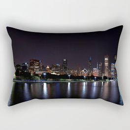 Chicago night skyline with fireworks, Usa. Rectangular Pillow