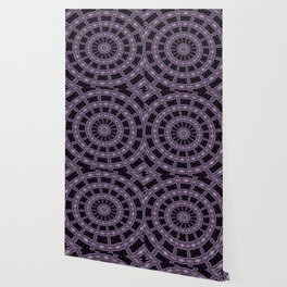 Eggplant and Pale Aubergine Kaleidoscope Pattern Wallpaper