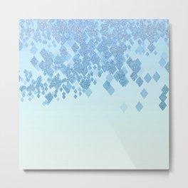 Light Aqua Blue Gradient Faux Glitter Diamonds Metal Print