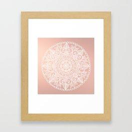 White Mandala on Rose Gold Framed Art Print