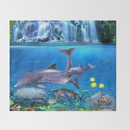 The Dolphin Family Throw Blanket