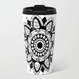 Vine black mandala on white Travel Mug