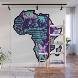 Purple blue Africa Map Wall Mural