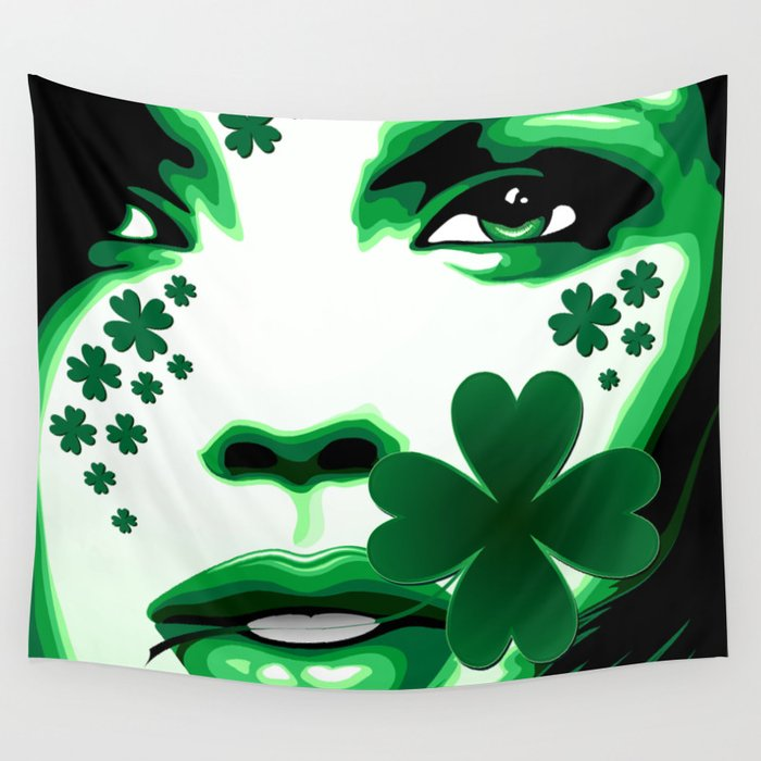 St Patrick Girl with Shamrock on Lips Wall Tapestry