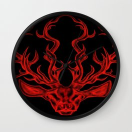 Stag (black background) Wall Clock