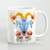 chinese Mugs featuring chinese goat by Manoou